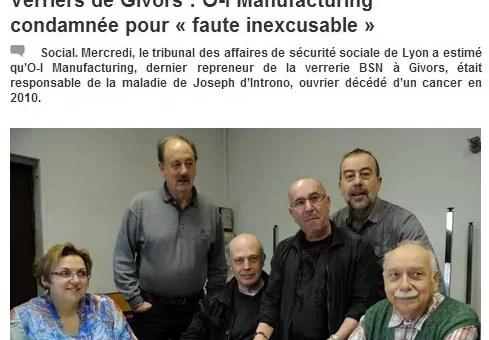 Verriers de Givors : une condamnation pour «faute inexcusable» d'O-I manufacturing
