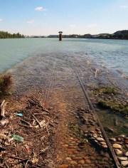 A la Confluence du Rhône et de la Saône, les rails plongent dans l'eau, entre le parc des Berges et La Mulatière ! ©