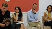 La maire du 1er entourée d'Eliotte Aubin à sa droite et Arthur Rémy et Fatima Berrached lors de la présentation du Plan de mandat