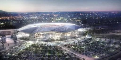 Une maquette du futur Grand Stade de l'OL.