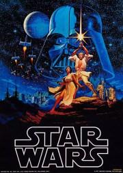 Le tout premier poster de Star Wars par les frères Hildebrandt, 1976, avant la sortie du film. Source : dailygeekshow.com.