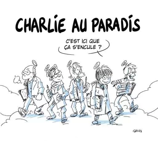 "Dessin issu du journal pirate lyonnais ""Charlie Héros""."