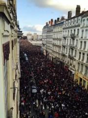 La Marche républicaine du dimanche 11 janvier 2015 à Lyon. Crédit : Bernardo.