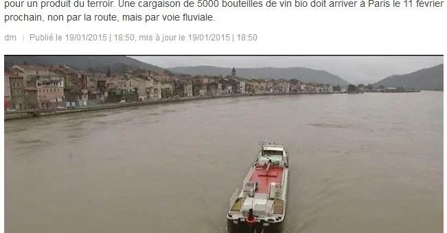 Une péniche pour transporter du vin bio ardéchois vers Paris