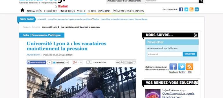 A l'université Lyon 2, les vacataires maintiennent la pression