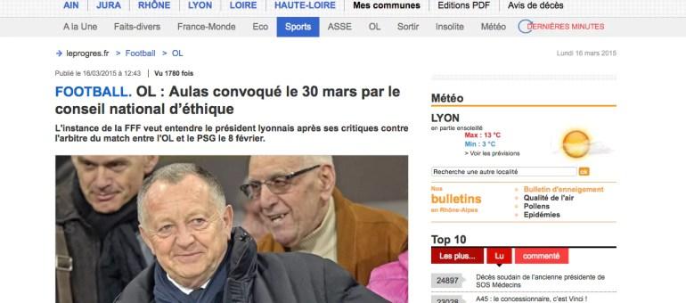 Jean-Michel Aulas convoqué par le conseil d'éthique de la FFF pour ses tweets
