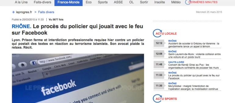 Un policier lyonnais jugé pour des propos islamophobes sur Facebook