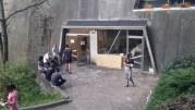 Des personnes expulsés du squat Yves Farge devant le gymnase des Maristes où elles sont provisoirement hébergées. ©LB/Rue89Lyon