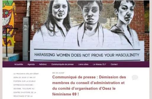 Capture d'écran du site d'Osez le féminisme 69.