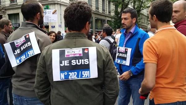 Manifestation des salariés de Renault Trucks le 16 juin, devant la préfecture du Rhône. ©LB/Rue89Lyon