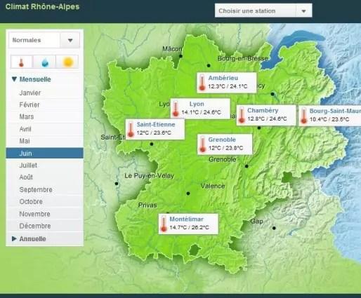 Capture d'écran du site de Météo France : températures moyennes au mois de juin dans la région