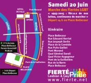 Plan du parcours de la 20e édition de la Marche des fiertés.