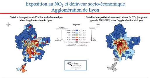 Niveau d'exposition à la pollution atmosphérique selon le niveau de vie dans l'agglo de Lyon / PDF Equit'area