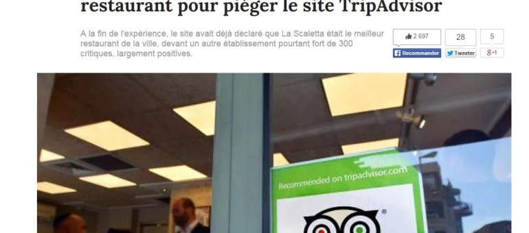 Tripadvisor piégé : le site surclasse un restaurant… qui n'existe pas
