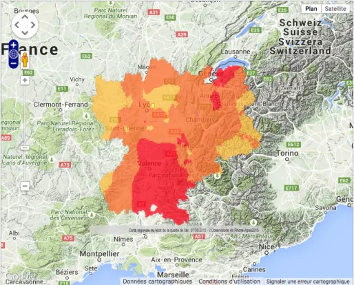 Capture d'écran Air Rhône-Alpes