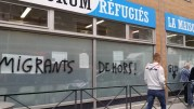 Tags anti-migrants du GUD sur la Maison des réfugiés photographiés le matin du 15 septembre, rue Garibaldi, à Lyon. ©LB/Rue89Lyon