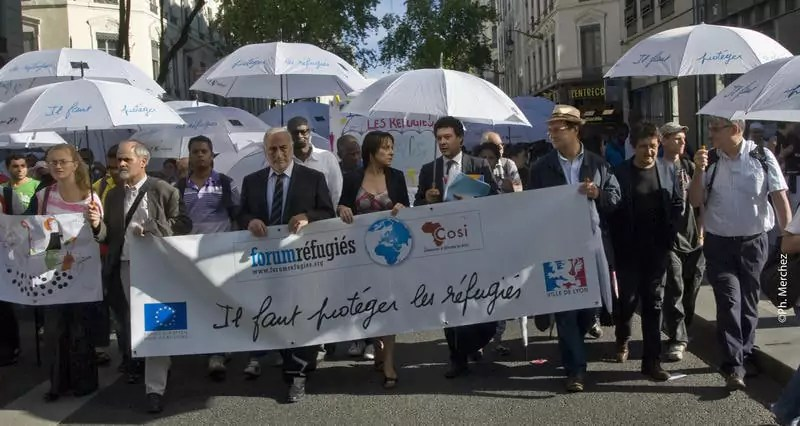 """La """"Marche des parapluies"""" est organisée chaque année à Lyon par Forum réfugiés dans le cadre de la journée mondial des réfugiés. ©DR"""