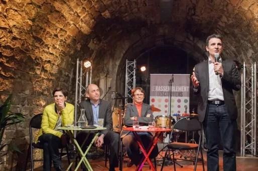 Sandrine Rousseau (EELV), Pierre Larrouturou (ND) et Martine Billard (PG), lors d'un meeting à la Bastille de Grenoble, le 18 mars 2015. Crédit : Véronique Serre.