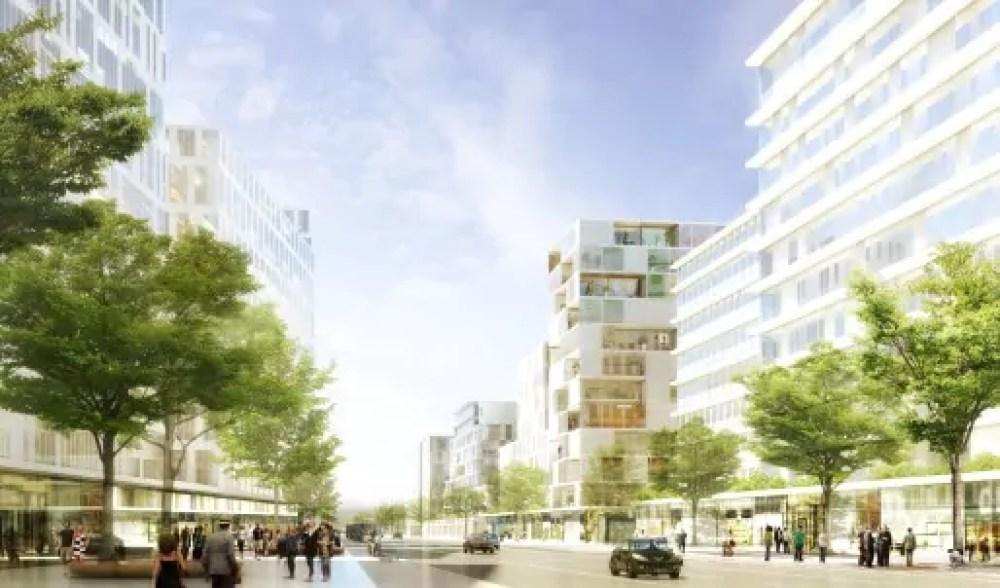 Perspective de la rue des Girondins depuis l'avenue Jean-Jaurès. La rue sera prolongée depuis la rue Félix Brun jusqu'à la station de métro. C'est sur cette portion que des commerces devraient être implantés en pied d'immeubles.