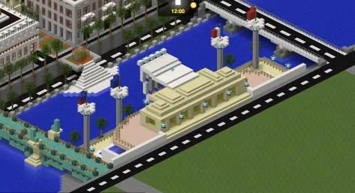 Les piscine du Rhône sur Minecraft. Capture d'écran