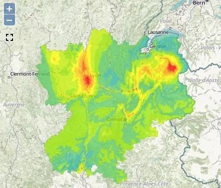 Pollution aux particules fines ce vendredi 4 décembre. Capture d'écran Air Rhône-Alpes