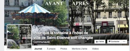 """Capture d'écran du groupe Facebook """"Pour que la fontaine à l'hôtel de ville de Saint-Etienne soit changée""""."""