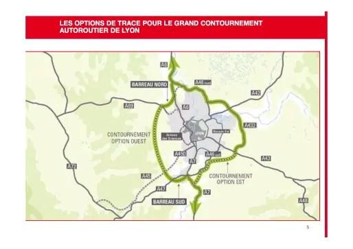 Tracés des possibles pour le grand contournement de Lyon. Document Métropole de Lyon