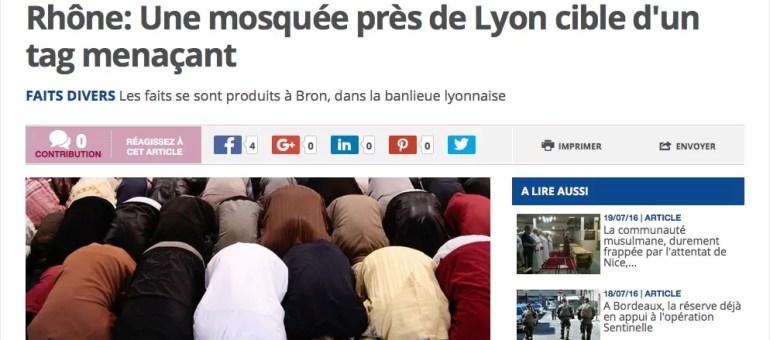 Un tag islamophobe sur la mosquée de Bron