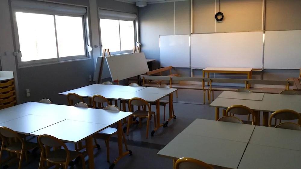 L'intérieur d'une des classes de maternelle de l'école provisoire des Girondins. ©LB/Rue89Lyon