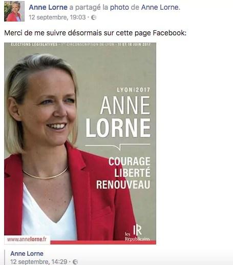 Capture d'écran de la page Facebook d'Anne Lorne, par Rue89Lyon.