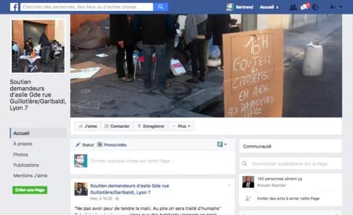 Capture d'écran de la page Facebook du collectif citoyens