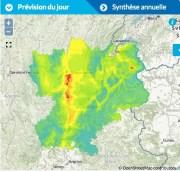 Prévision de pollution aux particules fines pour le 30 novembre 2016. Capture d'écran Atmo Auvergne-Rhône-Alpes