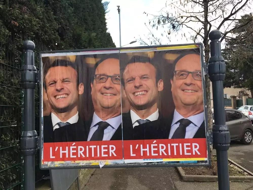 Une énigmatique affiche anti-Macron qui fait du leader d'En marche ! l'héritier de François Hollande. Photo prise à Oullins. ©DD/Rue89Lyon.fr