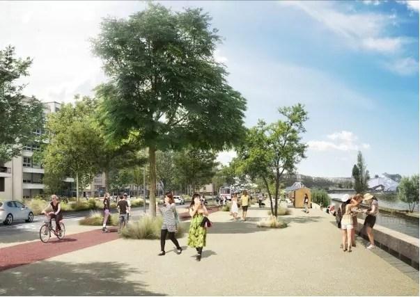 Image d'un futur boulevard urbain à la Confluence. Crédit : Grand Lyon