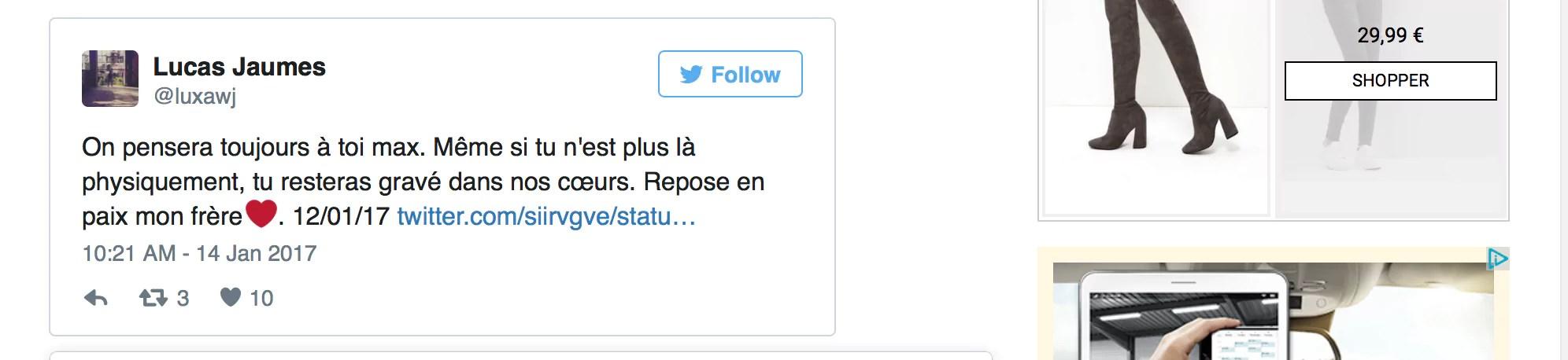 Tweet d'hommage à Maxime