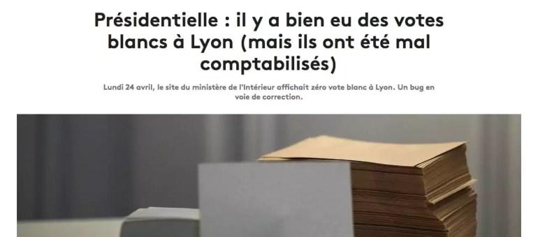 À Lyon, le vote blanc est finalement réapparu dans le décompte officiel