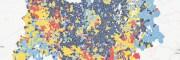 Capture de la carte des candidats arrivés en tête dans les communes d'Auvergne-Rhône-Alpes