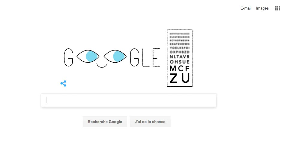 Capture d'écran de la page d'accueil de Google le 9 mai 2017 rendant hommage au test optique Monoyer.