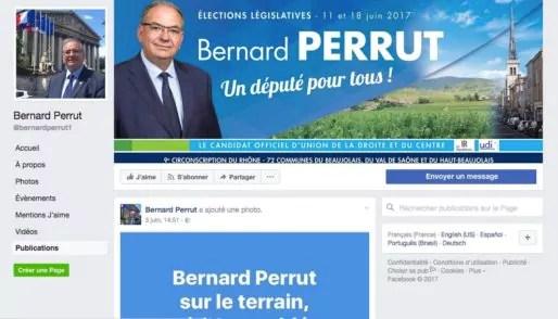 Capture d'écran page Facebook de Bernard Perrut
