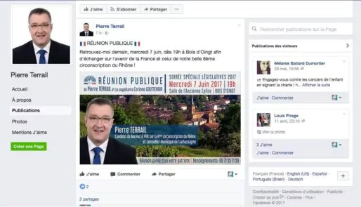 Capture d'écran page Facebook de Pierre Terrail