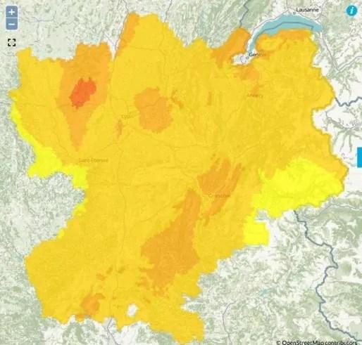 Episode de pollution à l'ozone mardi 29 août 2017 dans le bassin de Lyon-Nord-Isère. Capture d'écran Air Rhône-Alpes