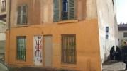 Le petit immeuble du 5, rue Saint-André à la Guillotière quelques heures après son évacuation. ©LB/Rue89Lyon