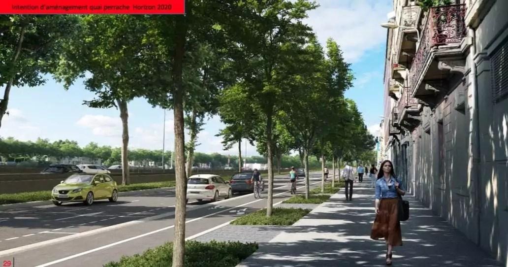 Premiers aménagements cyclables sur le quai Perrache, à l'horizon 2020. Source : Métropole de Lyon.