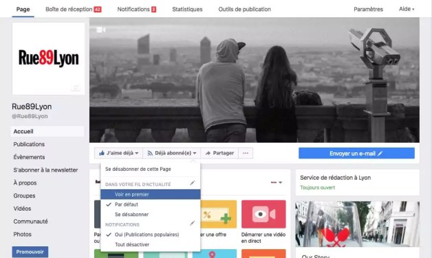 Page Facebook de Rue89Lyon version deskstop. Capture d'écran