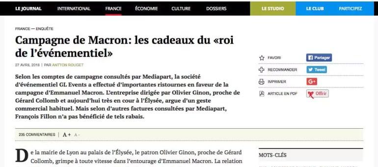 Les prix d'ami du lyonnais GL Events au candidat Emmanuel Macron