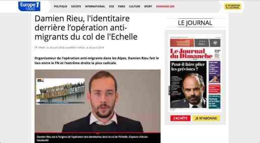 Article du JDD sur Damien Rieu, qui fait le lien entre les Identitaires et le FN. Capture