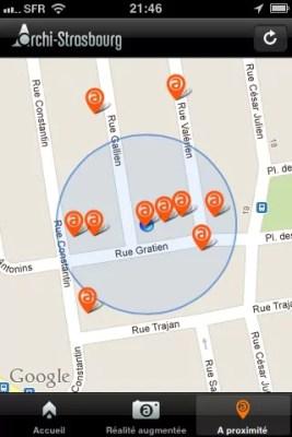 """Le mode """"plan"""", à l'image de google maps, permet de construire son parcours et visualiser les lieux couverts à proximité."""