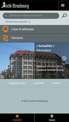 La page d'accueil de l'application Archi-Strasbourg.