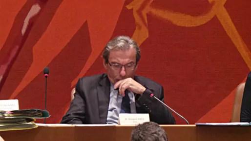 Roland Ries, maire (PS) de Strasbourg, lors du conseil municipal de décembre 2014 (Photo PF / Rue89 Strasbourg / cc)