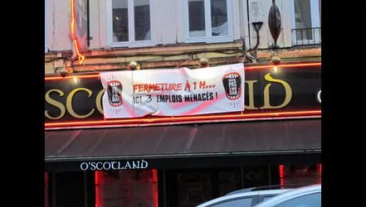 Trois emplois seraient menacés au bar O'Scotland  si la nouvelle charte nocturne est appliquée en l'état (Photo : La Voix du Nord)